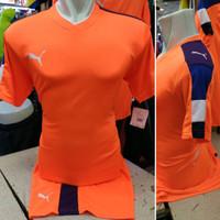 Setelan Jersey Bola Futsal Lokal Polosan Puma Orange