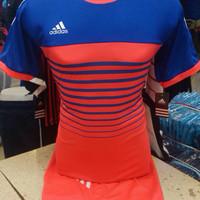 Setelan Jersey Bola Futsal Lokal Polosan Adidas Garis Peach Biru