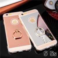 FOR IPHONE 5 5S SE - NEW LUXURY MIRROR SILIKON CASE with finger i ring