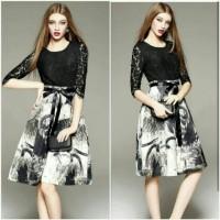 harga Dress Korea / Midi Dress / Baju Pesta / Dress Brokat Hitam Tokopedia.com
