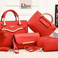 Tas Dior Lavenza Emboss 5in1 Metalic MERAH 8885