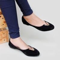 harga Sepatu Flat Shoes Murah Suede RS04 Hitam Tokopedia.com