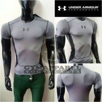 Kaos Lari Kaos Fitness Under Armour Techfit Bodyfit Abu