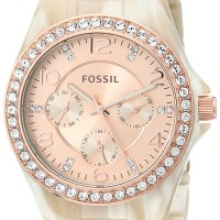 Fossil Women's ES3579 Riley Rose Gold-Tone Watch Pearlized Resin