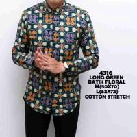 Kemeja Batik Floral Grosir Long green Hijau ijo Laki-Laki