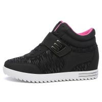 PINSV Synthethic Leather Women Sneakers High Cut (Black)