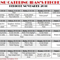 Menu Catering Harian Iban's Kitchen November 2016 Bandung