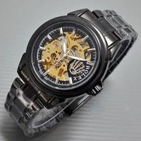 Jual Jam Tangan Pria Rolex Skeleton Logo Samping New Rantai Full Black Murah