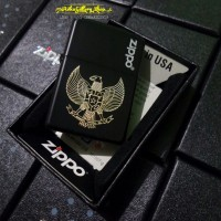 Korek zippo black matte custom grafir logo garuda pancasila