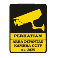 Sign Keamanan CCTV Sticker Hotel Restoran Kantor Tempat Belanja Stiker