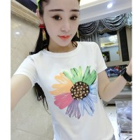 Atasan T-shirt Kaos Cewek Putih Bunga Tumblr Import Murah Size L