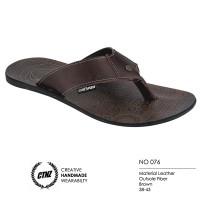 harga Sandal Flip-Flops / Jepit Casual Kulit Asli Pria NO 076 Cokelat Tokopedia.com