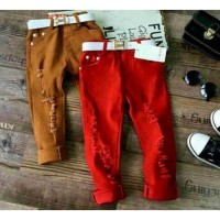 HERMES JEANS MERAH Baju Anak Import Branded Celana Ripped Sobek Belt