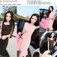 25434 - Two Pcs Top + Skirt / Setelan 2 Pcs Hitam Pink