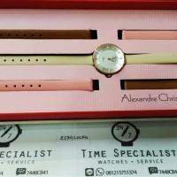 Jam Tangan Alexandre Christie AC 2547 Original Wanita set 3 kulit