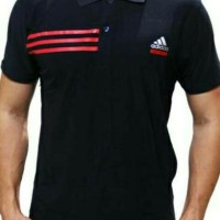 kaos kerah/polo shirt/baju ADIDAS black strip red