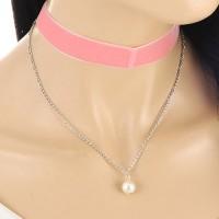 Kalung Choker Pink Velvet Double Layer White Pearl KN68411