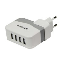 Jual VIVAN ADAPTOR CHARGER XC4S SUPER 4.2 OUTPUT 4 PORT USB WHITE ORIGINAL Murah