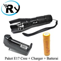 PAKET Senter LED Cree XM-L T6 E17 + Charger + Batterai UltraFire