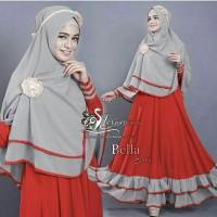 BUSANA MUSLIM/bAJU ST BELLA SYARI (RED)/ DRESS WANITA/ GAMIS/ HIJAB