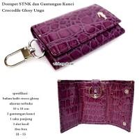 dompet stnk / gantungan kunci crocodille glossy ungu