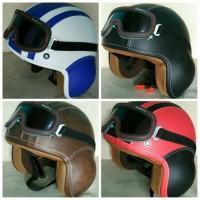 Helm Classic Retro Pilot Kulit Goggles Vespa