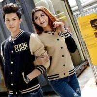 [Couple Qing Strip (hitam-coklat)LO]jaket couple babyteri hitam-coklat