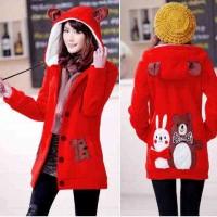[Jaket Funny merah LO] jaket wanita babytery merah