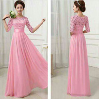 Jual dress panjang pink rok klok lebar / gaun pesta ada lengan / big size Murah