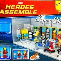 lego iron man hall of armor sy 305 with iron man suits + bonus