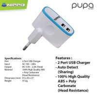 Hippo Pupa 2 Ports 2.4A Charger Iphone Xioami samsung Lenovo (SP)