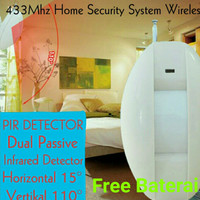 PIR Detector Dual Passive Infrared Curtain 433Mhz Home Security System