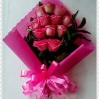 HandBouquet Mawar Pink(kado hadiah buat pacar)