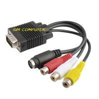 VGA TO S-VIDEO 3 RCA COMPOSITE AV TV OUT ADAPTER CONVERTER CABLE FOR P