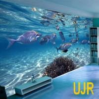 Wallpaper Dinding Model Dunia Bawah Laut Untuk Ruang Tamu