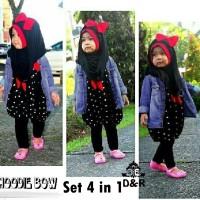 Baju Muslim Anak Perempuan Umur 5 - 7 Tahun [set hodie bow 4in1 DR]