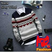 Sweater Rajut NAZA GREY TRIBAL (Switer Rajut / Switer Bandung) MURAH