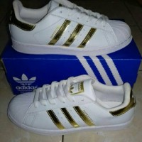 Sepatu Adidas Superstar White List Gold Kw Super