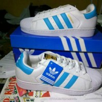 Sepatu Adidas Superstar White List Blue Kw Super