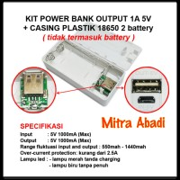 Kit Power Bank 1A 5V 2 Slot Batre/Baterai 18650 + Casing Plastik