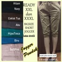 Celana Jogger Pendek XXL XXXL Wanita Bigsize Jumbo Katun Stretch 3R