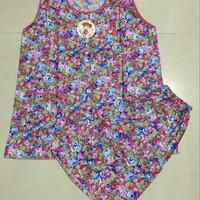 Baju Tidur Full Kancing Motif Bunga Tanpa Lengan / Baju Menyusui