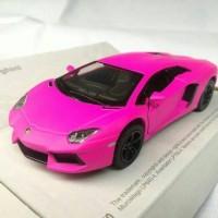 Mainan Pajangan Miniatur Diecast Mobil Lamborghini Aventador (pink)