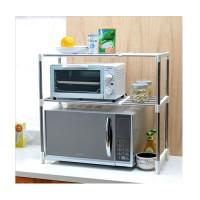 Rak Penyimpanan Dapur - Microwave Oven Stainless Steel Storage Rack