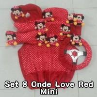 Set Car / Sarung Jok / Bantal Mobil Boneka Minnie Mouse / Merah / Putih 8 In 1