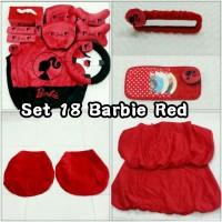 Set Car / Sarung Jok / Bantal Mobil Boneka Barbie / Merah / Hitam 18 In 1