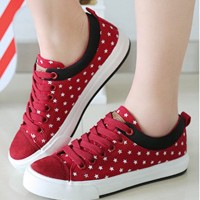 Sepatu Kets Wanita Casual Merah | Sepatu Wanita Bintang |