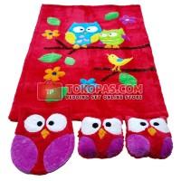 Jual Karpet Rasfur Set - Owl Dasar Merah (Busa 3cm) Murah