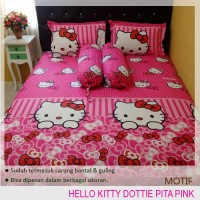 Sprei Katun Hello Kitty Pita Dotti Pink No.1 | Uk.180x200x20