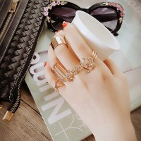 Cincin Korea Best Seller Rings Diamond with Flower Shape Design (5pcs)